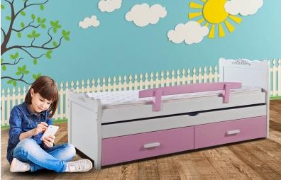 מיטת ילדים  100% עץ אורן גלים אחרונה מתצוגה