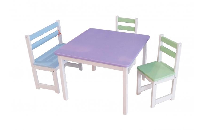 שולחן עץ+2 כסאות