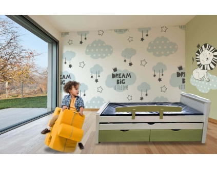 מיטת ילדים  100% עץ אורן- דגם יובל NEW