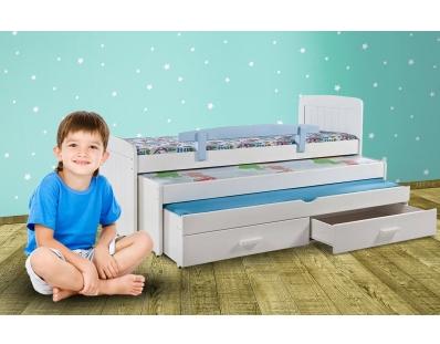 מיטה משולשת לילדים 100% עץ אורן - דגם דניאל