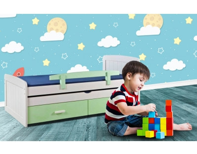 מיטת ילדים מעץ אורן תצוגה דניאל
