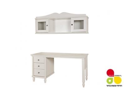 שולחן שירה 3 מגירות וכוורת זכוכית